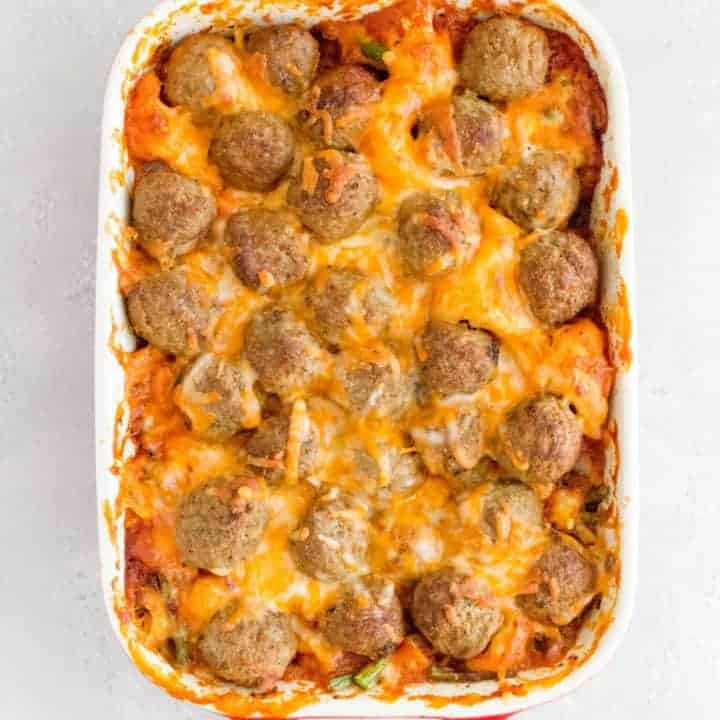 This one post Meatball Sub Casserole is so easy to make. Dump everything into a baking dish and have dinner ready in 40 minutes.