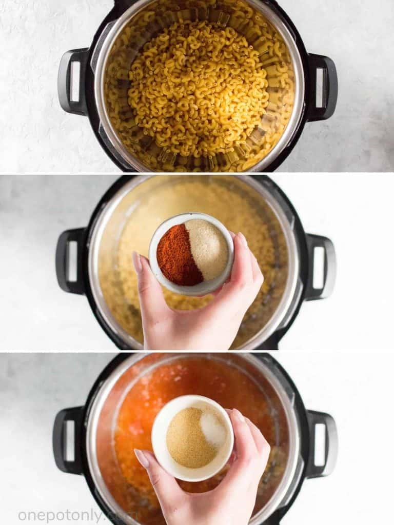 3 images, 1 macaroni pasta in instant pot, 2 adding paprika and onion powder, 3 adding garlic powder and salt