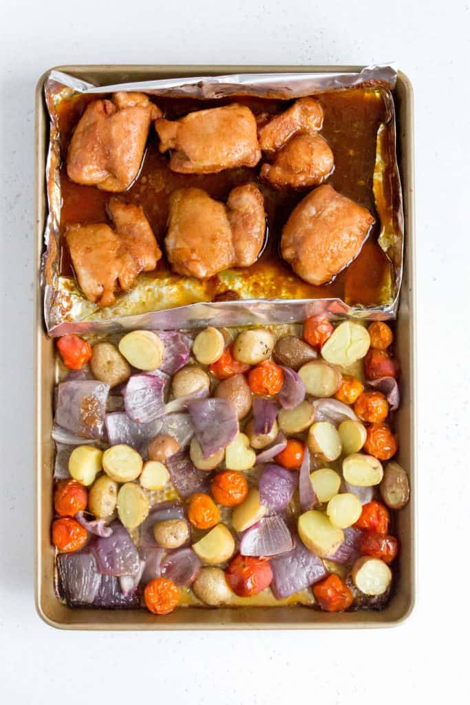 sheet pan holding roasted