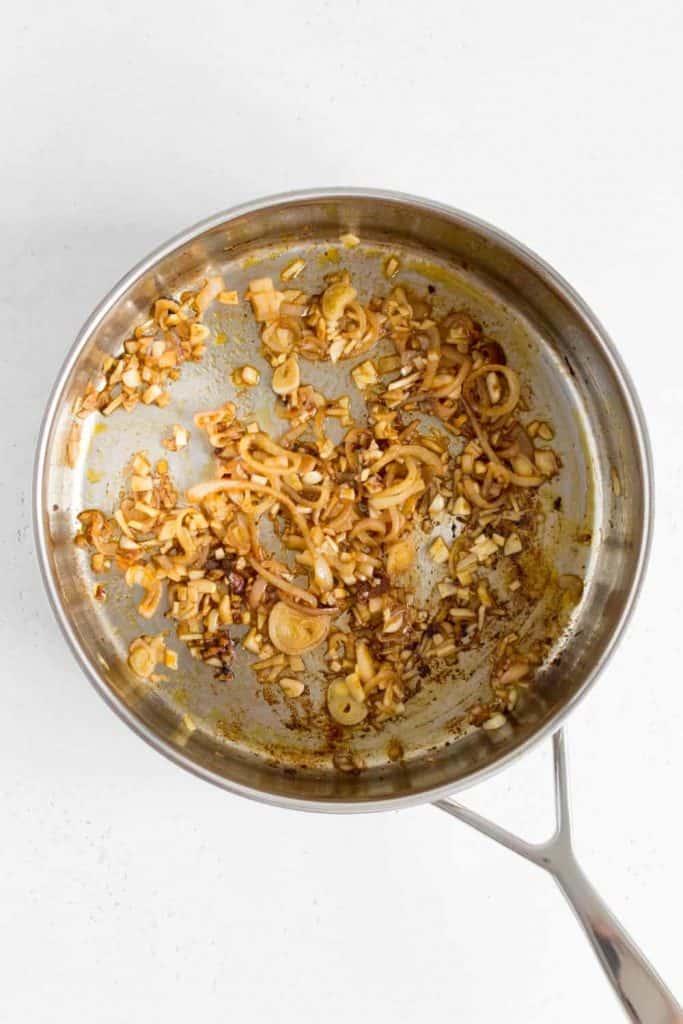 pant with sautéed garlic and shallots