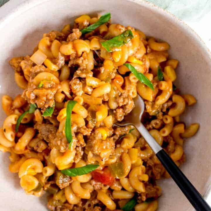 One Pot Cheesy Salsa Beef Pasta
