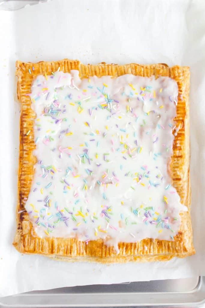 homemade pop tart topped with sprinkles