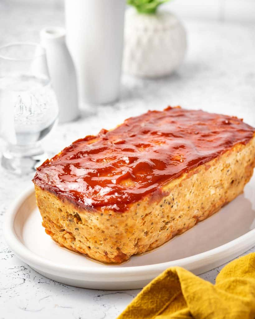 A plate with a chicken meatloaf.