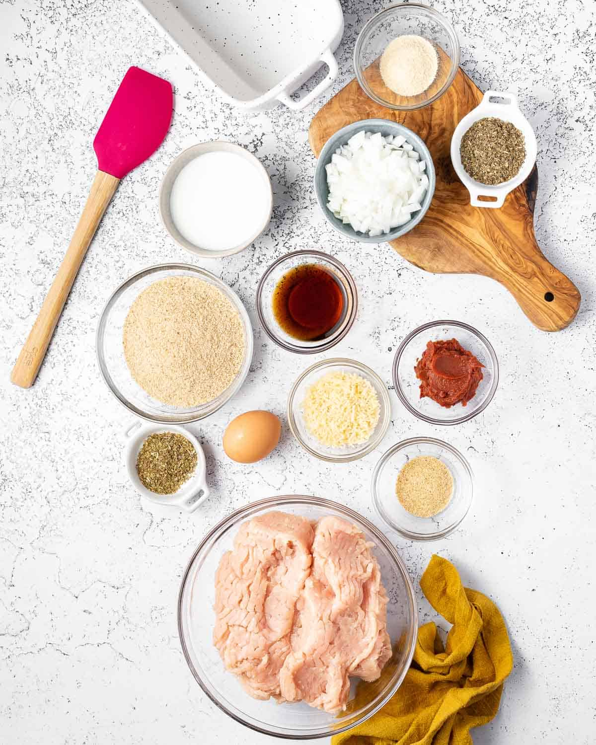 Ingredients needed for a chicken meatloaf.